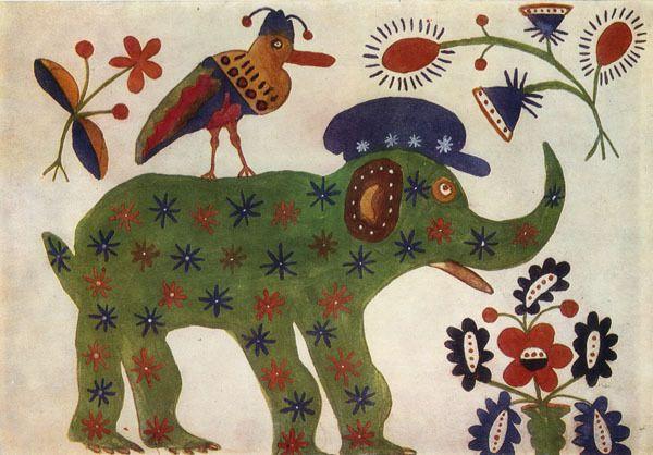 """""""Elefante verde"""", de Maria Primachenko, 1936"""