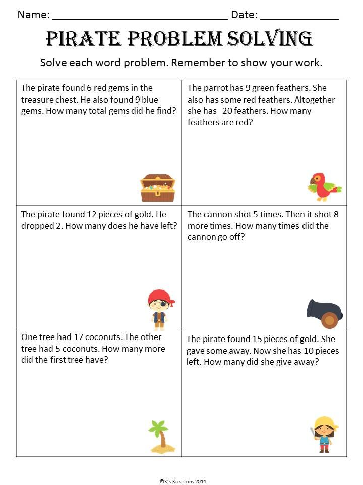 Pirate Addition and Subtraction Word Problems | Common cores, Math ...