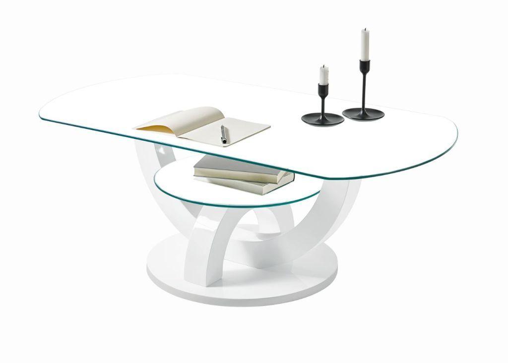 Couchtisch Boston Weiss Hochglanz Glas In 2020 Couchtisch Oval
