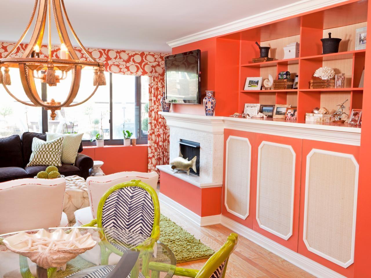 See This Fun Eclectic Living Room With Coral Walls And Lime Green Chairs Only On HGTV