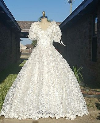 Vintage lace wedding dress ivory/beige A-line princess look small S ...