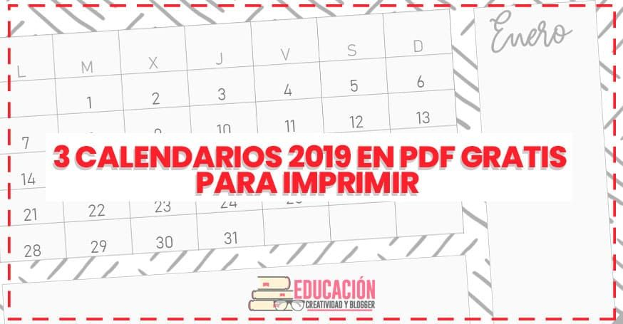 Calendario Marzo 2020 Para Imprimir Pdf.3 Calendarios 2019 En Pdf Gratis Para Imprimir