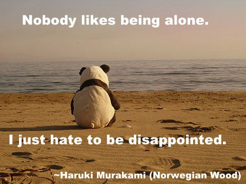 Haruki Murakami quote about loneliness and disappointment