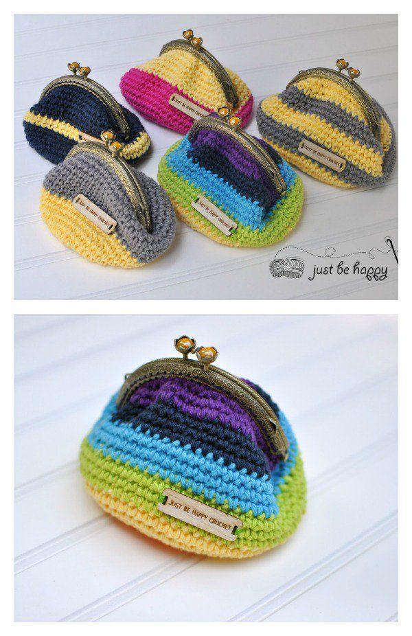 Crocheted Coin Purse Free Patterns | Häkeln, Häckeln und Stricken häkeln