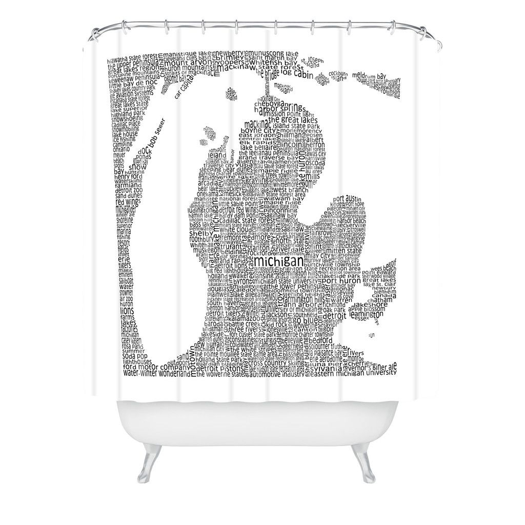 Restudio Designs Michigan Map Shower Curtain Deny Designs Home Accessories Curtains Shower Curtain Printed Shower Curtain
