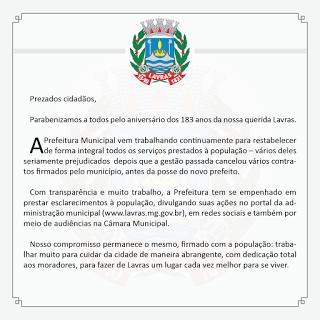 Blog do ANDRÉ LUIS FONTES : MENSAGEM DA PREFEITURA POR OCASIÃO DO ANIVERSÁRIO ...