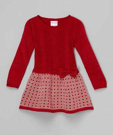 This Red & White Bow Sweater Dress - Toddler & Girls is perfect! #zulilyfinds