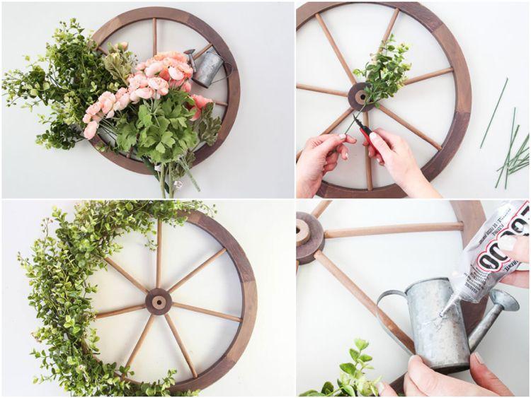 Ideen für schöne Herbstdeko mit Wagenrad innen und außen #innenhofgestaltung