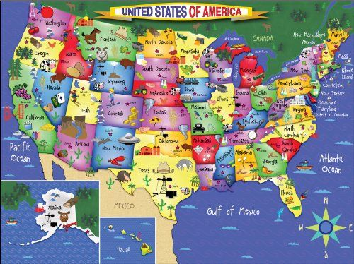 White Mountain Puzzles USA Map 300 Piece Jigsaw Puzzle https