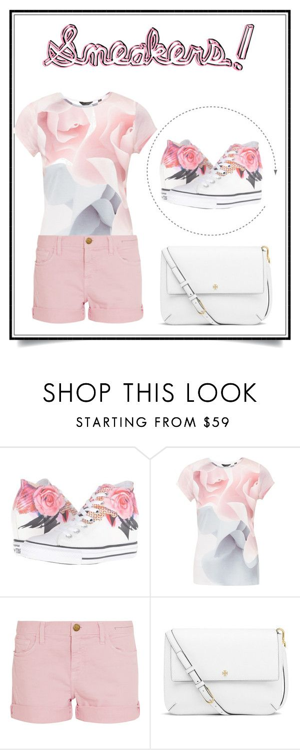"""""""Sneakers!"""" by lovetodrinktea ❤ liked on Polyvore featuring Converse, Ted Baker, Current/Elliott and Tory Burch"""