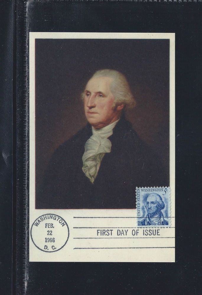 US 1283 President Washington Maximum Card Peale Portrait February 22 1966 DC Art