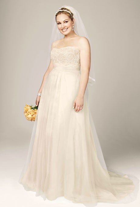 Style 9WG3586, strapless A-line beaded lace tulle gown, $499, David's Bridal See more David's Bridal wedding dresses.