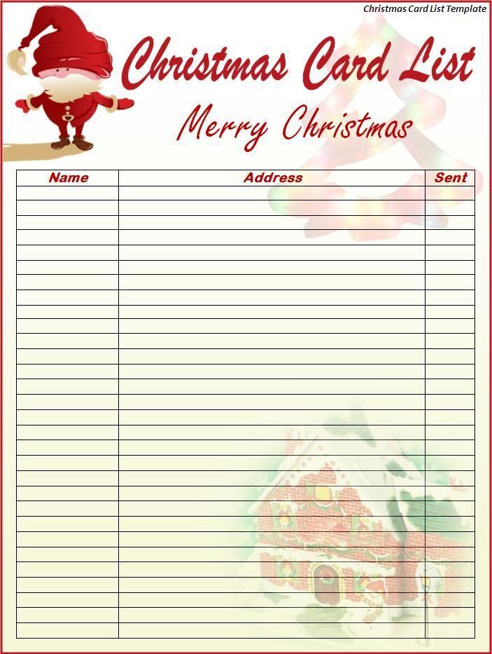 Free Printable Christmas Card List Free Printable Christmas Card List Template Christmas Card Address Book Christmas Cards Free Addressing Christmas Cards