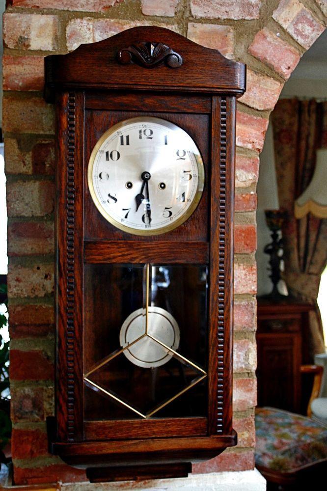 antique german drgm 8 day oak case wall clock with on wall clocks id=81006