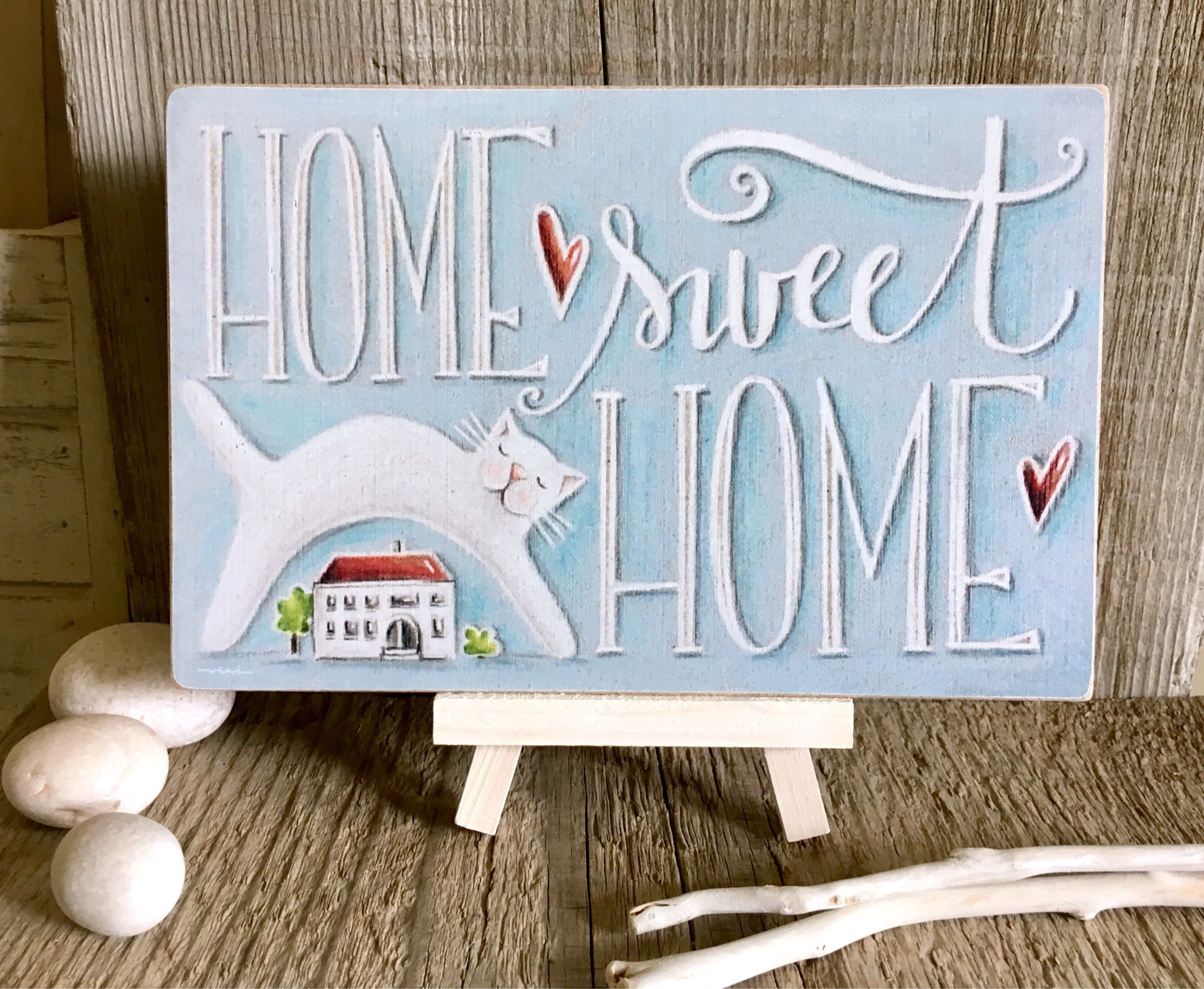 House Warming Gift Home Sweet Home Rustic Home Decor Home Decor Wall Art New Home Gift Cat Wall Hanging Wall Sign Wood Print Home