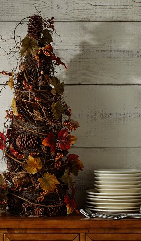 Twiggy Autumn Buffet Tree With Pine Cones And Leaves