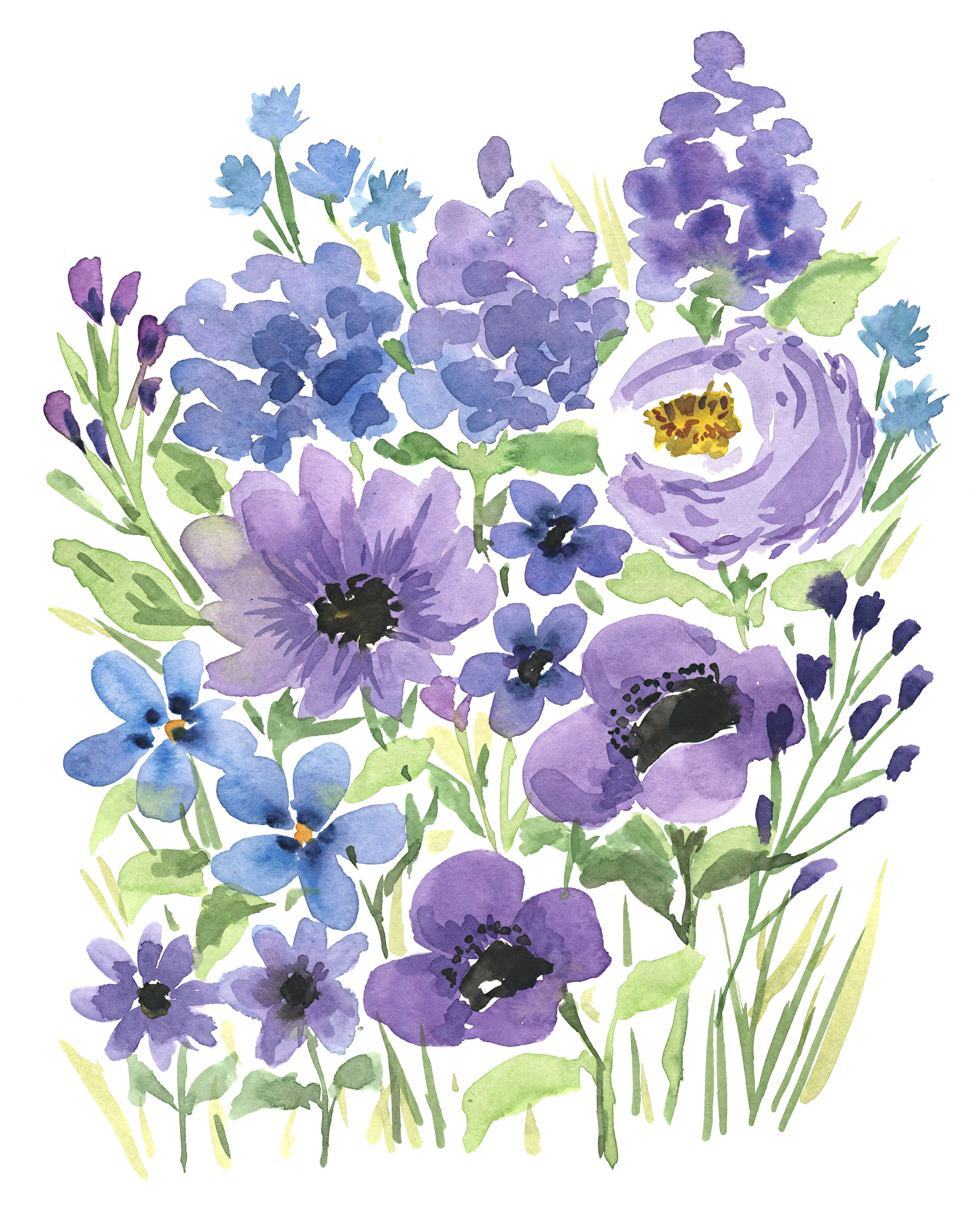 Purple Flowers Watercolor Flowers Floral Watercolor Floral Wall Art