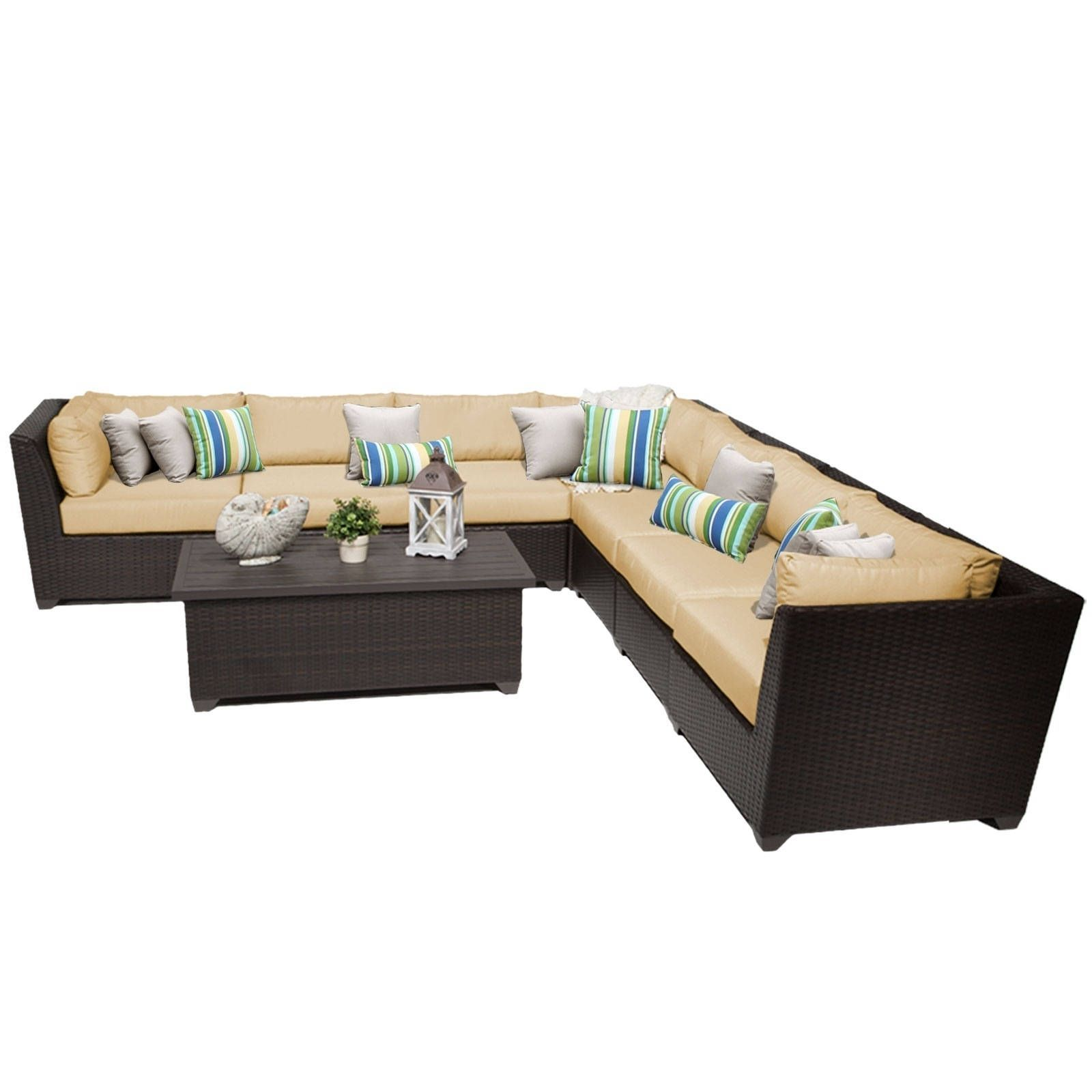 Meridian 8 Piece Outdoor Patio Wicker Sectional with Storage Table