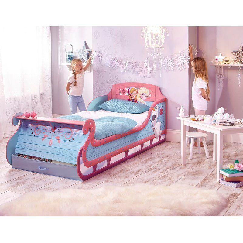 Wooden Toddler Bed Pink Blue Disney Frozen Sleigh Store Kids Bedroom  Furniture