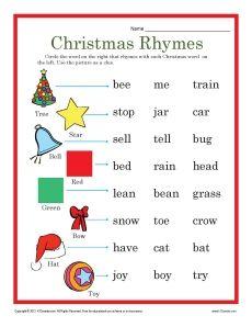 Christmas Rhymes Worksheet For Kindergarten And 1st Grade