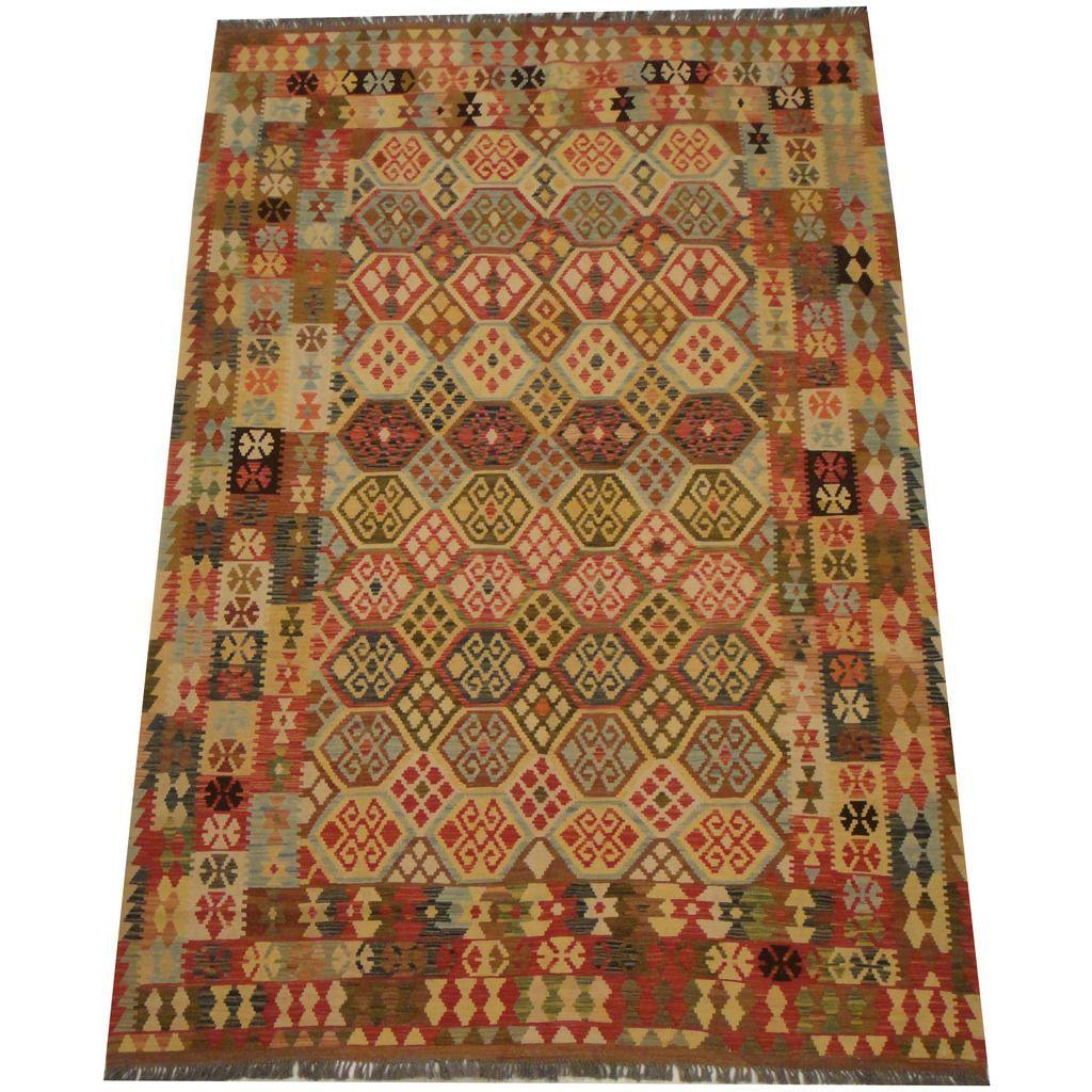 Herat Oriental Afghan Hand-woven Vegetable Dye Tribal Wool Mimana Kilim (6'8 x 9'11) (Handmade Afghan Mimana Kilim), Beige, Size 6' x 9' (Natural Fiber, Geometric)