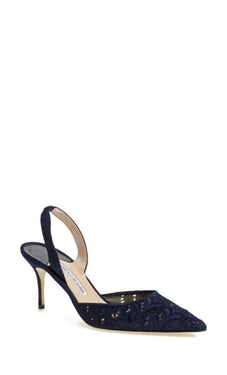 Manolo Blahnik Carolyne Pointy Toe Slingback Pump Navy Fabric #salon #shoes