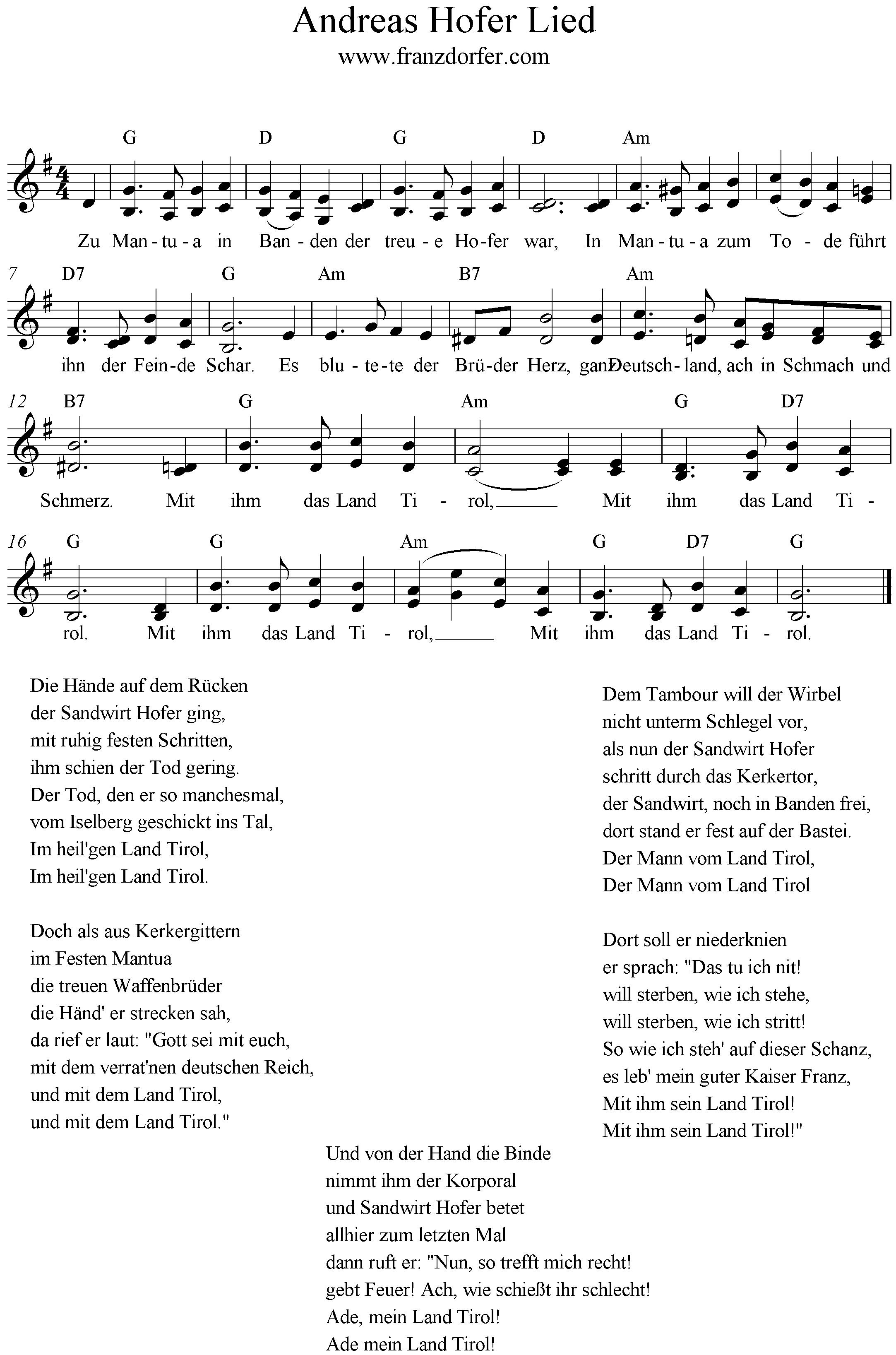 Zu Mantua In Banden Andreas Hofer Lied Lieder Lied Noten