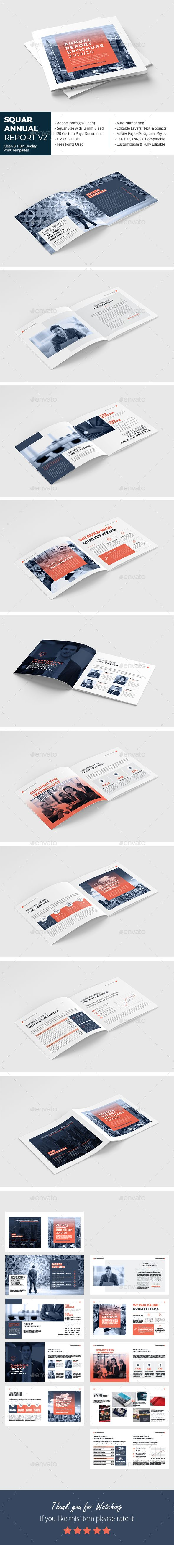 Square Annual Report Brochure Template InDesign INDD #annualreports