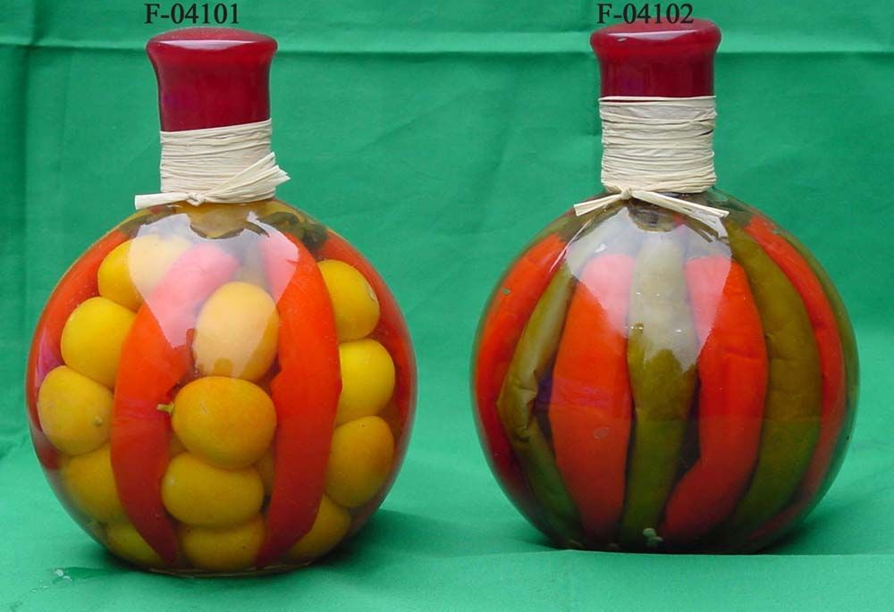 Decorative Infused Oil With Vegetable Bottles Bottles Decoration Decorative Glass Jars Glass Bottles Decoration