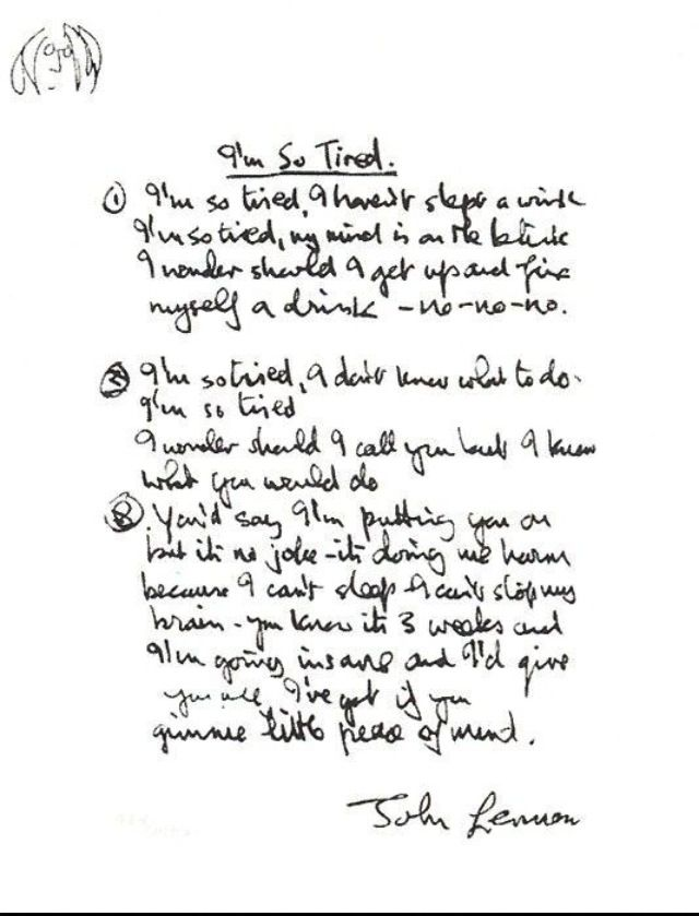 John Lennon S Handwritten Lyrics For I M So Tired Beatles Lyrics John Lennon Lennon