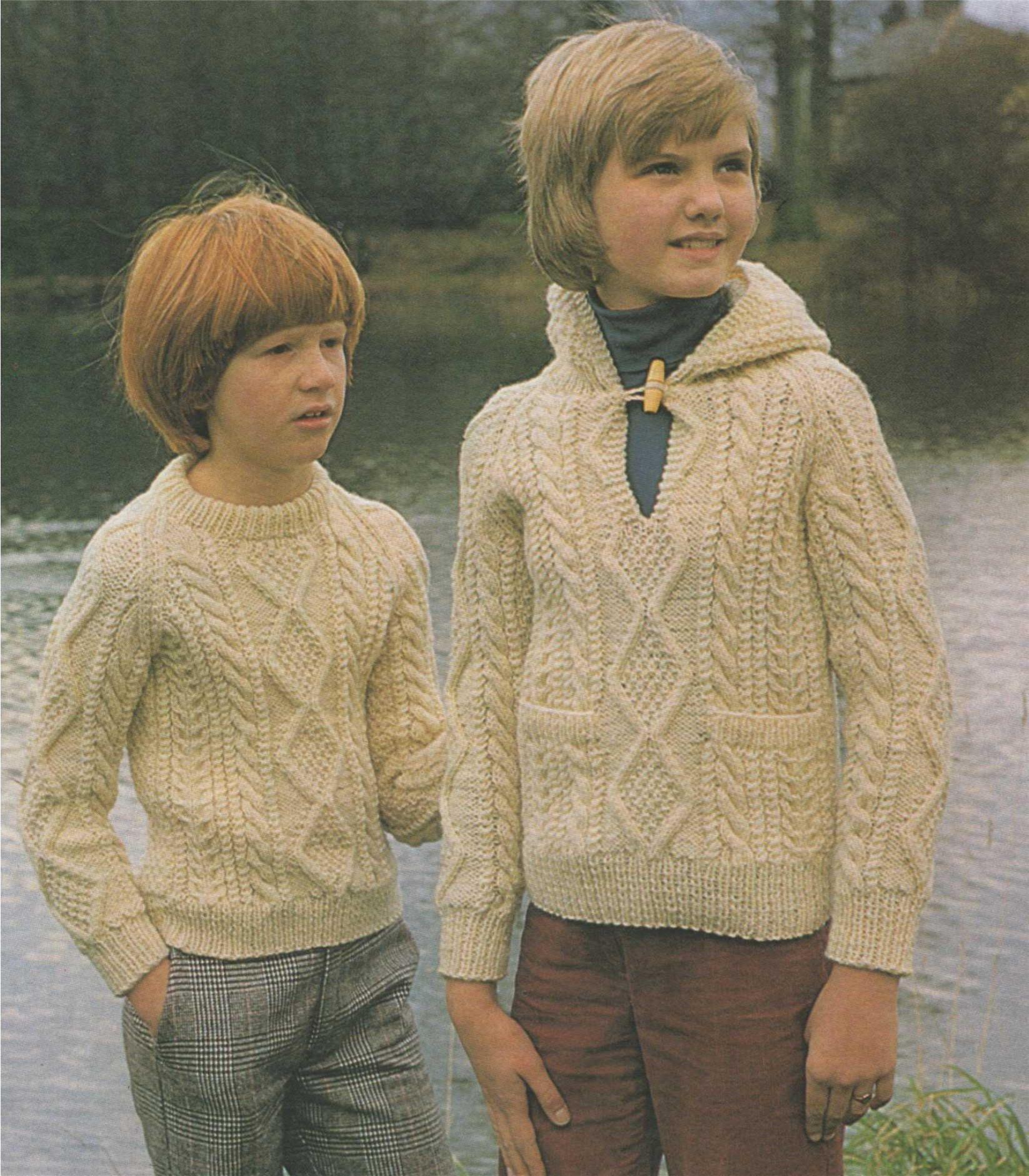 Childrens Aran Sweater and Hoodie PDF Knitting Pattern ...