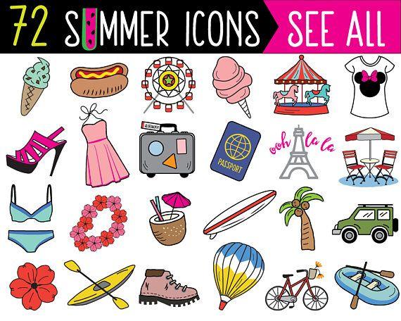 Mega Bundle Summer Clipart Summer Clip Art Printable Planner Etsy In 2021 Clip Art Bullet Journal Stickers Journal Stickers