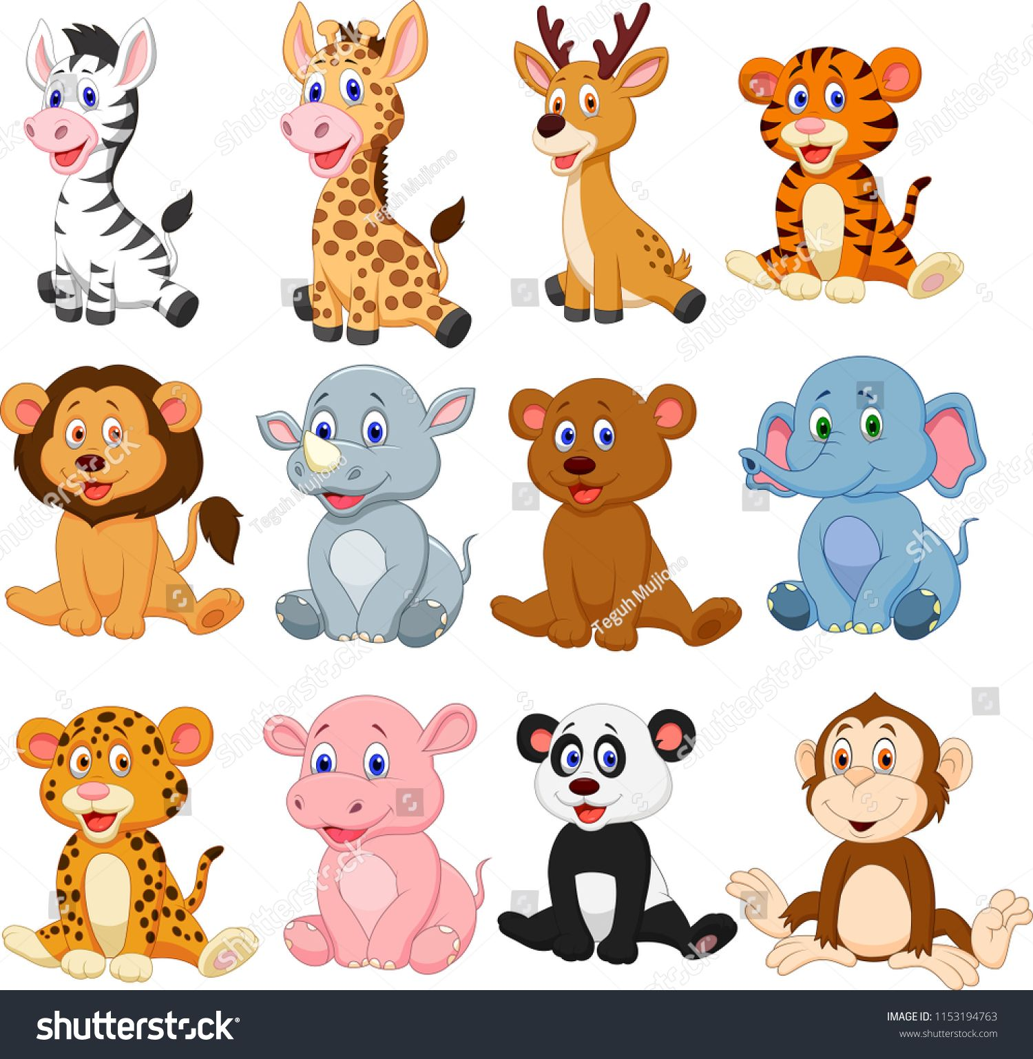 Wild Animals Cartoon Collection Setanimals Wild Cartoon Set Barnehage Aktiviteter Håndverk