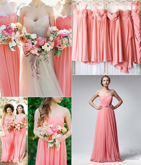 Coral Wedding Gowns: Key Color For Bridesmaid Dresses 2014–Coral, Wedding