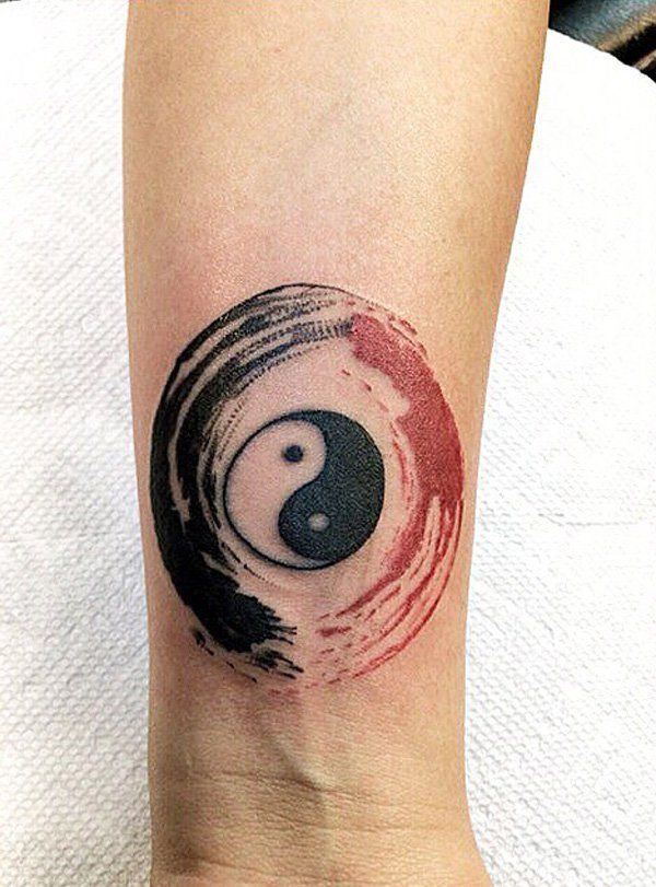733f40c7c4b97 Another simple looking Yin Yang tattoo that gives you great impact. It is  very beautiful especially with the combination of black and red ink against  the ...