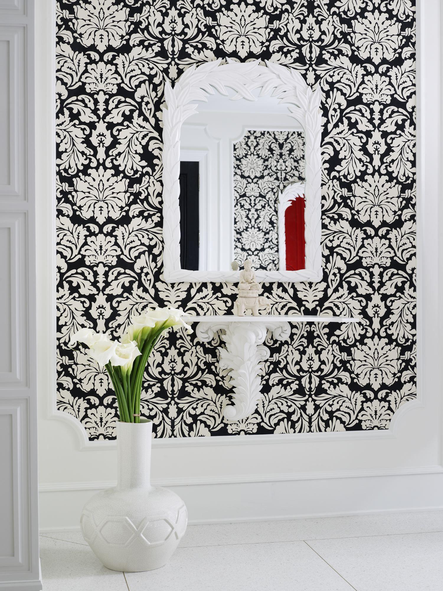 Damask wallpaper hallway ideas  Black and white damask wallpaper by Jamie Herzlinger  House ideas