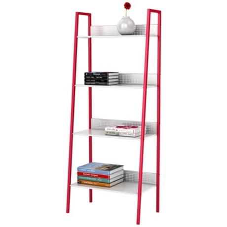 Kiley 4 Tier Red And White Metal Ladder