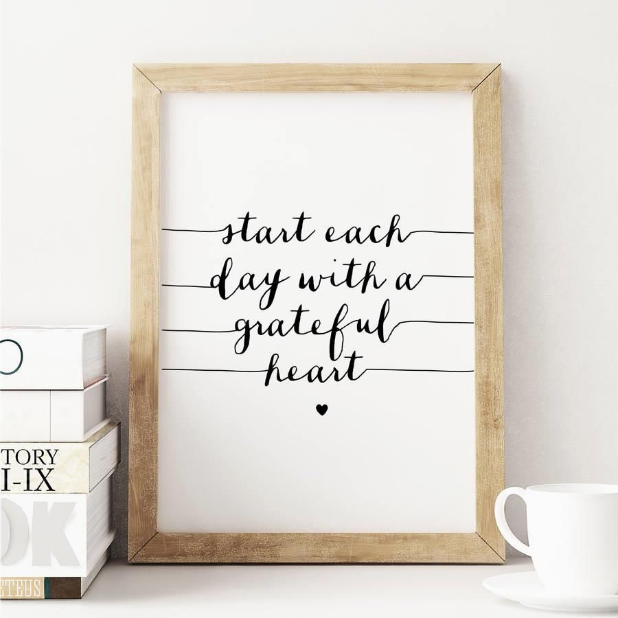 Start Each Day With a Grateful Heart http://www.amazon.com/dp/B01708HXZO   motivationmonday print inspirational black white poster motivational quote inspiring gratitude word art bedroom beauty happiness success motivate inspire