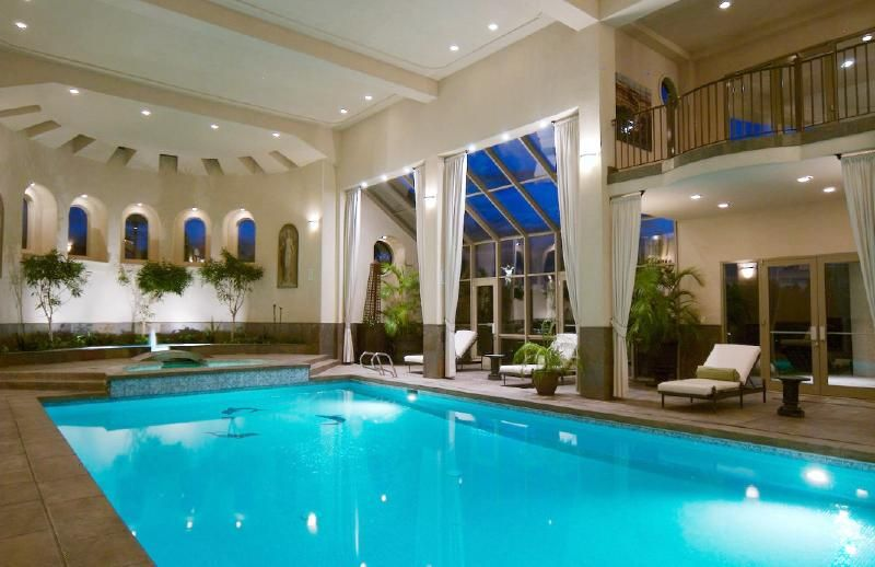 Beautiful indoor pool home theaters entertainment for Pool with pool house