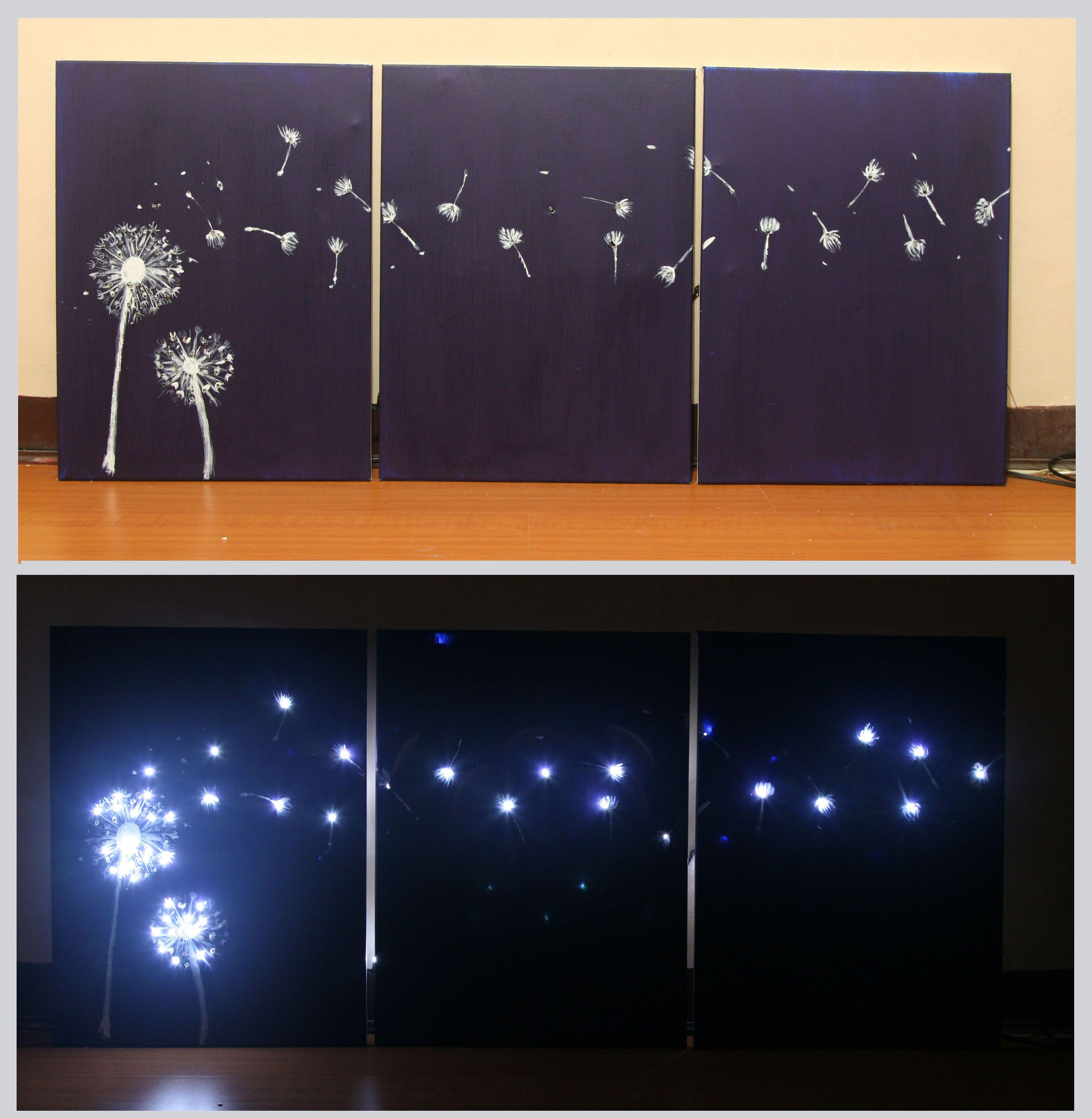 How to Design Three Panel, Light Up Dandelion Wall Art