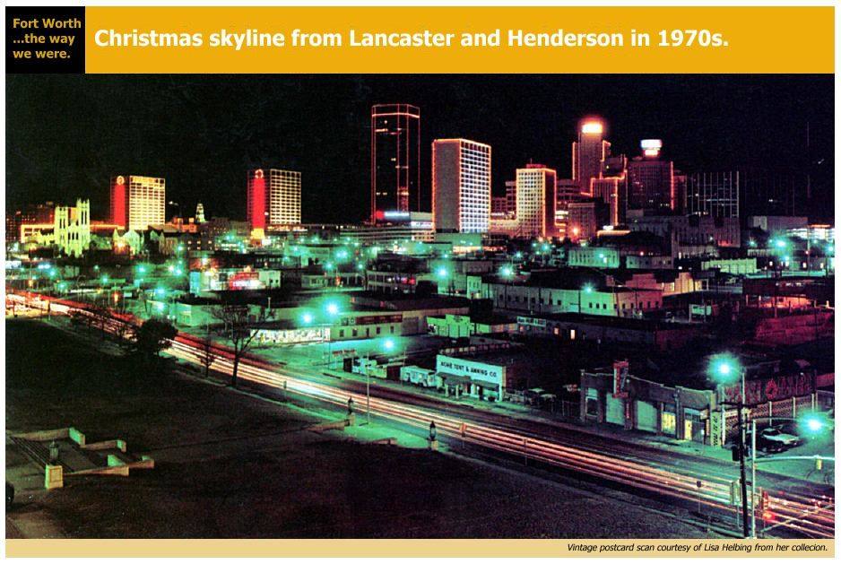 Christmas Skyline Fort Worth 1970s Fort Worth Texas Old Fort Old Pictures