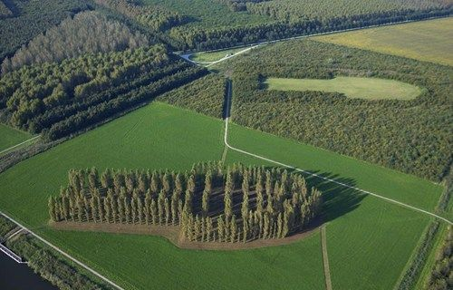 This Isn't Shopped of the Day: Cut & Paste Forest in the Netherlands  An aerial view of The Green Cathedral, an artistic landscape installation located near the Dutch town of Almere.