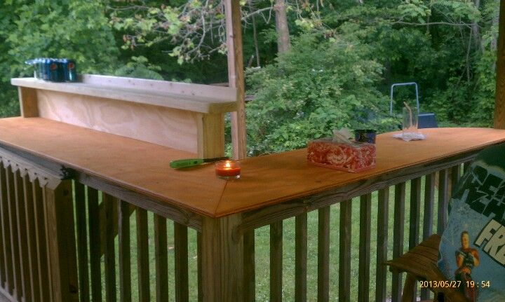 A Place To Eat And Hang Out Adding A Bar Top Over Your Deck Railing Is A Simple Affordable Way To Add Extra Seating Backyard Backyard Patio Decks Backyard