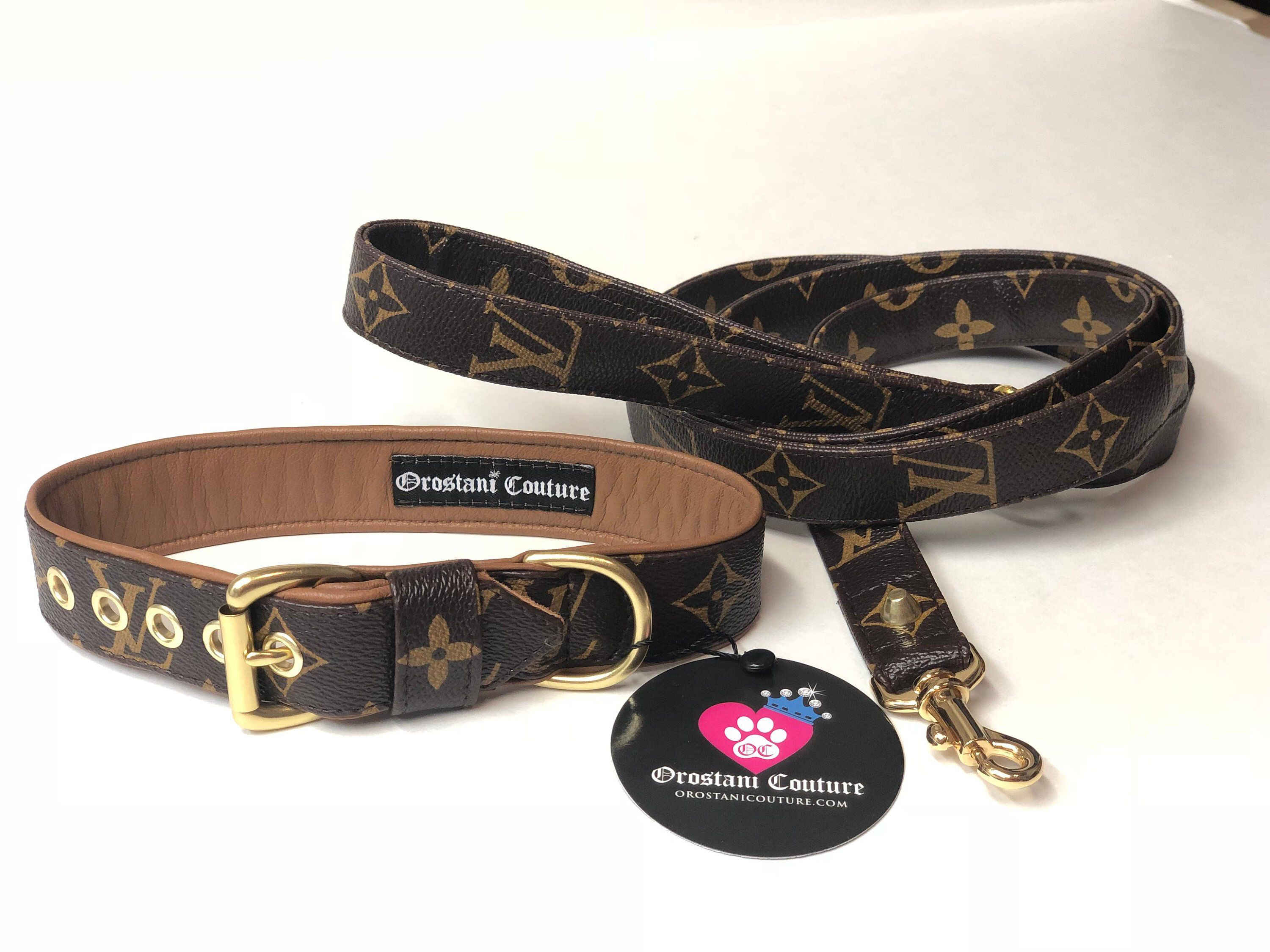 7a353ae31 Excited to share this item from my  etsy shop  Camel Lambskin Leather  Classic Monogram Designer Dog Collar and leash