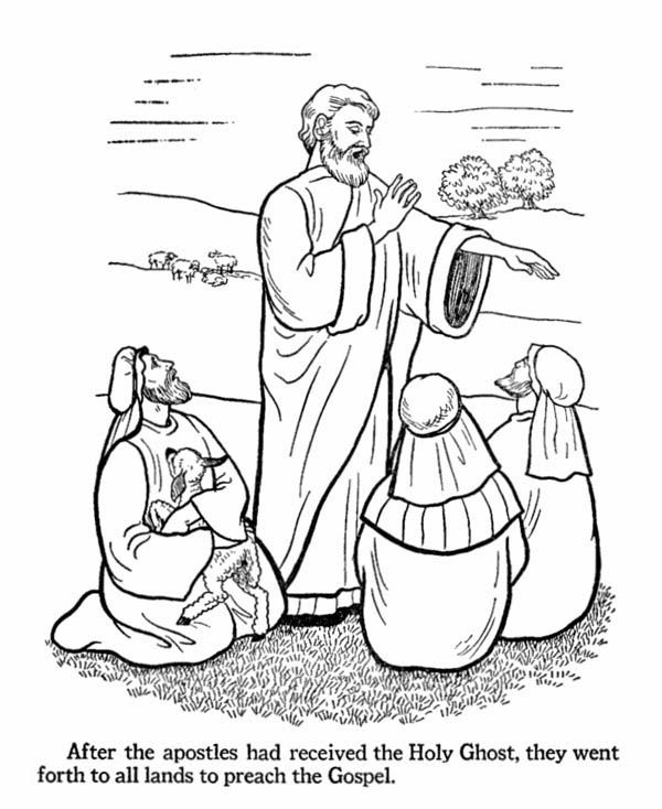 The Apostles Received The Holy Ghost And Jesus Resurrection Coloring Page