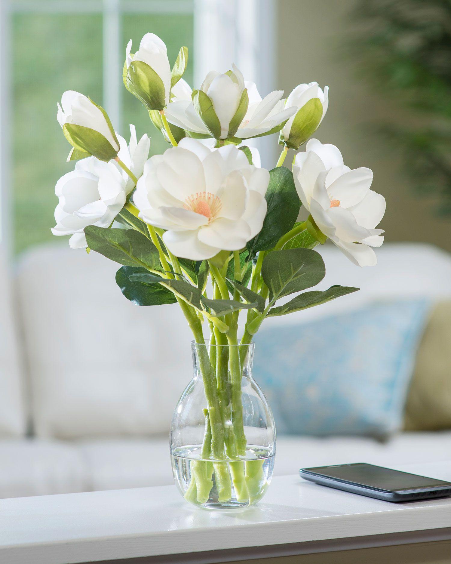 Perfect Summer Fl Arrangement White Silk Magnolia Accent Set