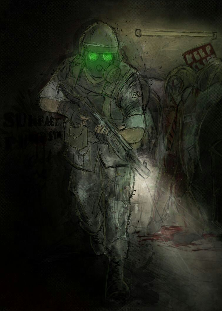 Half Life Oppsing Force Dark Tunnel with 2 green Eyes Cpl