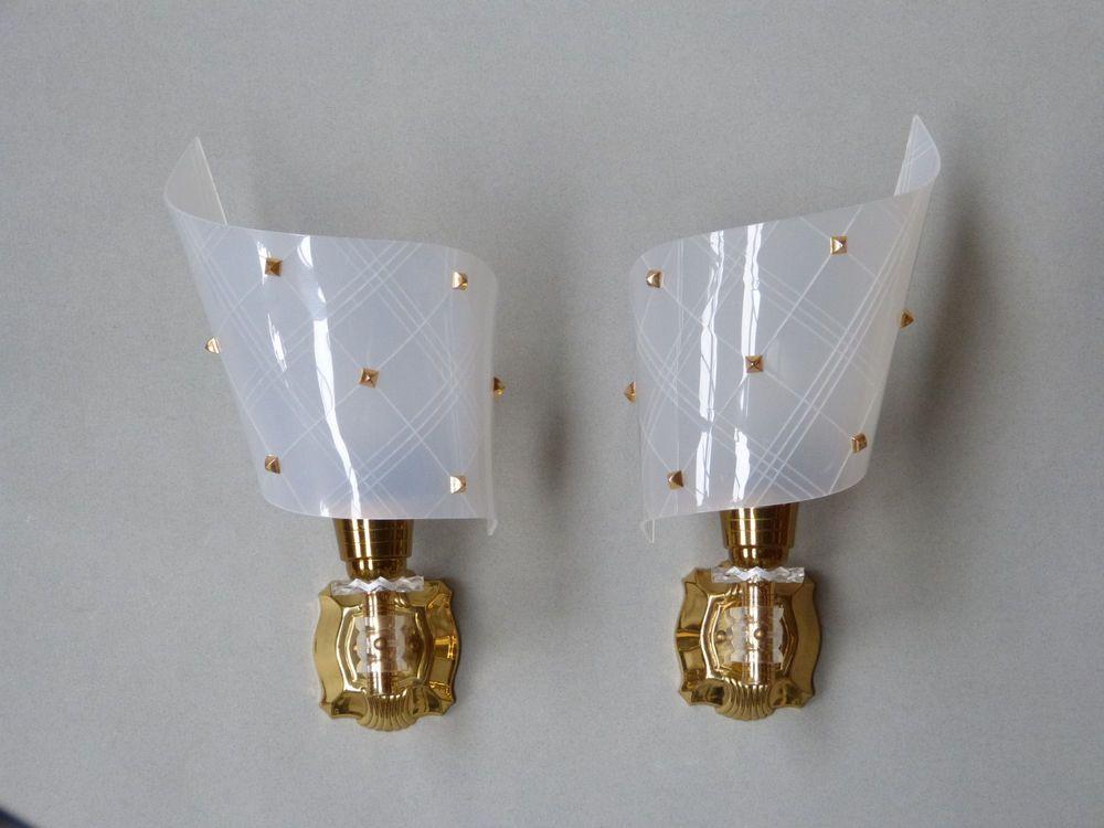 french vintage wall light lamp art deco gold metal plexiglass sconce mid century