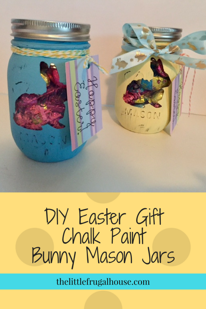 Diy easter gift chalk paint bunny mason jars pinterest super cute and easy diy easter gift using items found from the dollar tree these negle Images