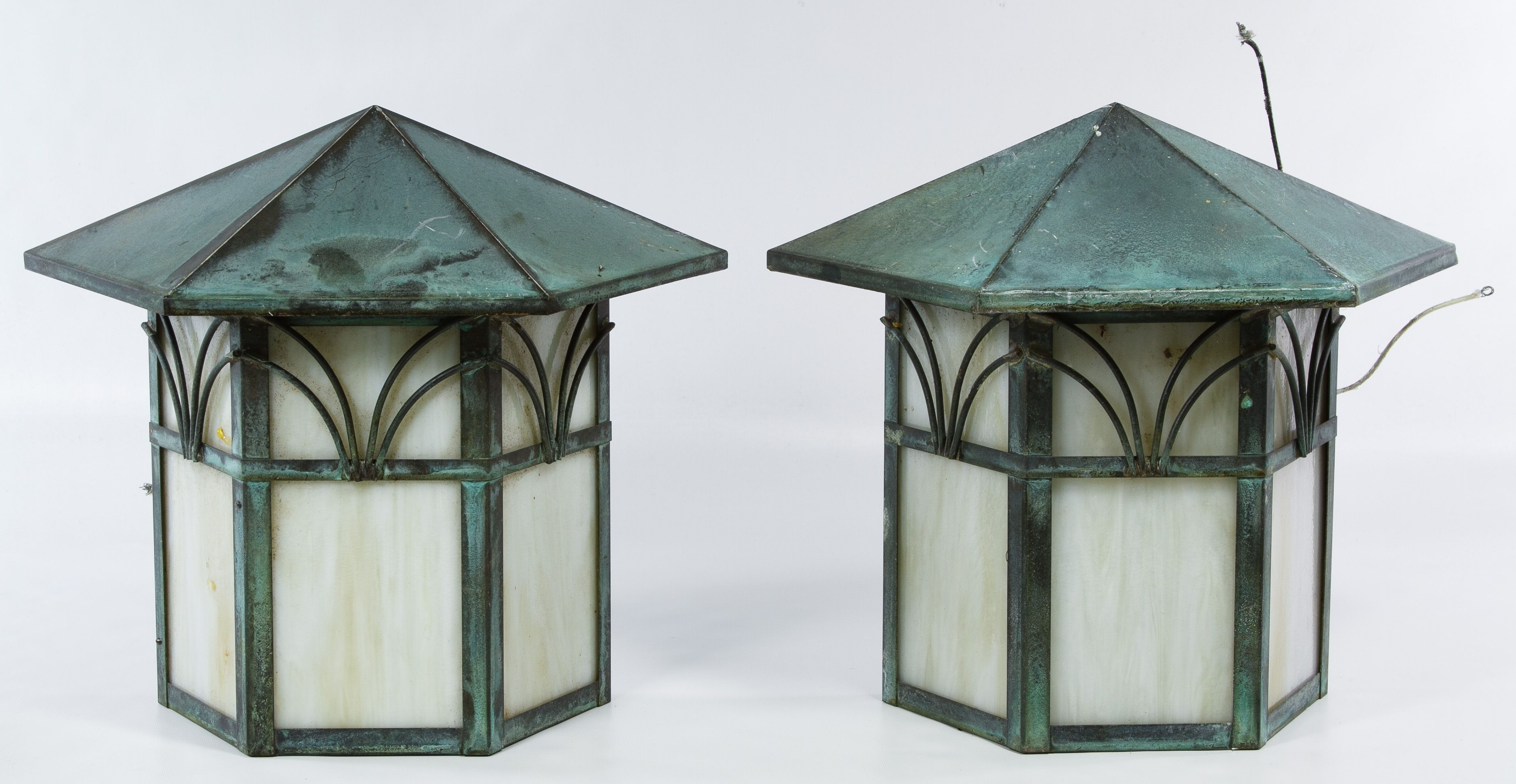Lot 157: Arts and Crafts Style Metal and Slag Glass Wall Lamps; Pair ...